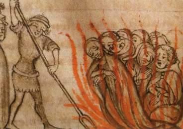 Verbrennung der Templer - aus einer anonymen Chronik aus dem 14. Jahrhundert.
